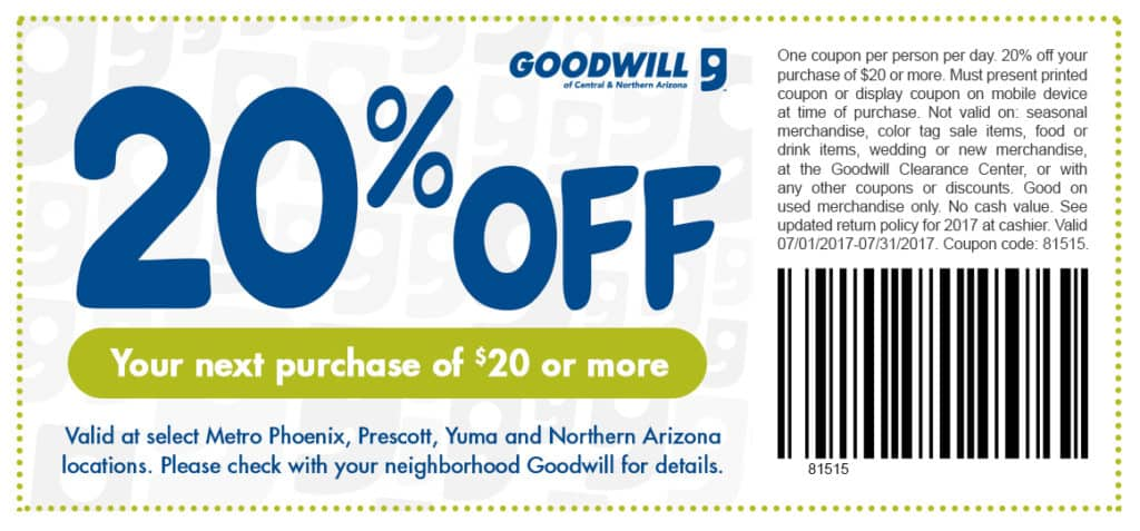 graphic relating to Goodwill Coupons Printable named Goodwill 20 off coupon august / Knight discount coupons