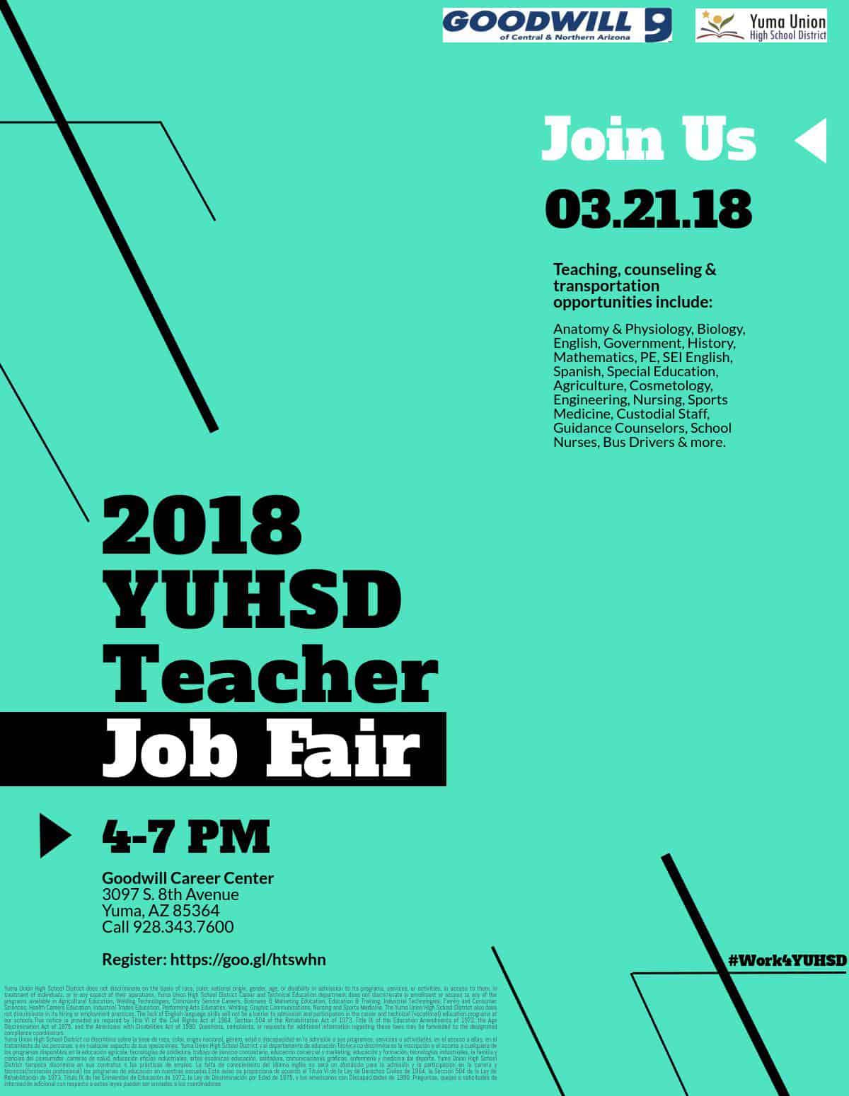Hiring Event: YUHSD Teacher Job Fair | Goodwill of Central and ...