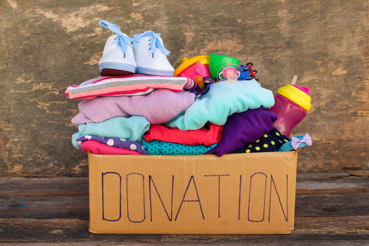 Donation box with clothes and other items